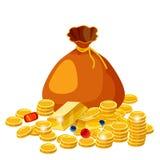 Bolso viejo grande de la historieta con joyería de las monedas de oro Concepto premiado del vector del efectivo Empaquete con la  libre illustration