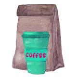 Bolso y café del almuerzo del papel de Brown a Imagen de archivo libre de regalías