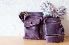Bolso y guantes Imagen de archivo libre de regalías