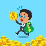 Bolso y moneda del dinero del jefe del negocio de la historieta que llevan Foto de archivo libre de regalías