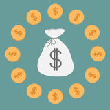 Bolso y monedas del dinero. Icono. Muestra de dólar. stock de ilustración