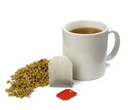 Bolso y taza de té Foto de archivo libre de regalías