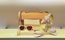 Bolso, zapatos y sunglass de cuero para las señoras Imagen de archivo