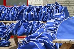 Bolsos azules de los deportes Imágenes de archivo libres de regalías