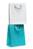 Bolsos azules y de plata del regalo Fotos de archivo libres de regalías