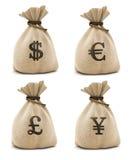 Bolsos con el dinero foto de archivo libre de regalías