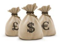 Bolsos con el dinero Fotografía de archivo