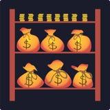 Bolsos con el dinero Imágenes de archivo libres de regalías