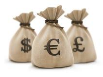 Bolsos con euro del dinero Fotografía de archivo