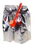 Bolsos de aluminio de los alimentos para niños. Fotos de archivo