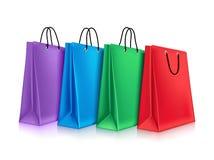 Bolsos de compras coloridos stock de ilustración