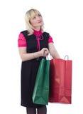 Bolsos de compras con estilo de la explotación agrícola de la mujer del retrato Fotos de archivo libres de regalías