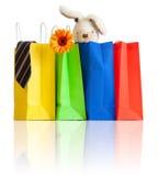 Bolsos de compras con las compras para la familia en blanco Fotos de archivo