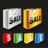 Bolsos de compras de la venta del vector Imagen de archivo
