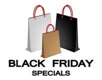 Bolsos de compras de papel para el Special de Black Friday Imagen de archivo libre de regalías