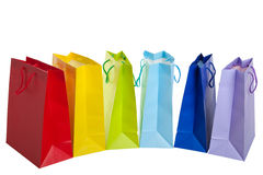 Bolsos de compras del arco iris imagen de archivo
