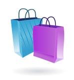 Bolsos de compras dos colores Imagenes de archivo