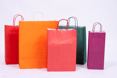 Bolsos de compras en blanco Foto de archivo