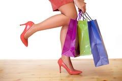 Bolsos de compras Estación de las compras Tiempo de las compras Imagen de archivo