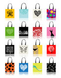 Bolsos de compras fijados para su diseño Imagenes de archivo