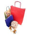 Bolsos de compras y rectángulos de regalo Imagen de archivo