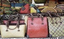 Bolsos de cuero hechos a mano Foto de archivo