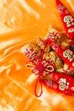 Bolsos de la bendición de la Feliz Año Nuevo, nudo deseoso, nudo chino, pimientas florecientes del significado foto de archivo