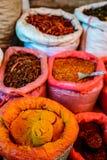 Bolsos de la especia y de chiles en el mercado asiático (Myanmar) Imagen de archivo libre de regalías