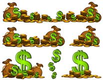 Bolsos de las muestras del dinero y de dólar de las monedas Foto de archivo libre de regalías