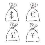 Bolsos del dinero con símbolos de moneda Foto de archivo libre de regalías