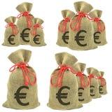 Bolsos del euro del dinero fotografía de archivo