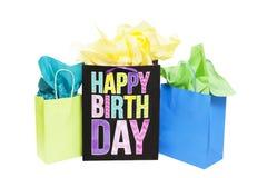 Bolsos del regalo de cumpleaños Fotografía de archivo libre de regalías