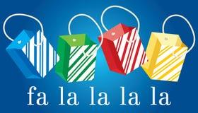 Bolsos del regalo de la Navidad rayados Imagen de archivo