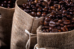 Bolsos del yute llenados de los granos de café Fotografía de archivo