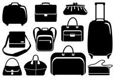 Bolsos e iconos de las maletas fijados Imagen de archivo libre de regalías