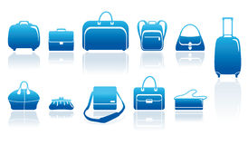 Bolsos e iconos de las maletas fijados Fotos de archivo