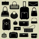 Bolsos e iconos de las maletas fijados Foto de archivo libre de regalías