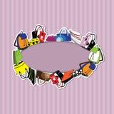 Bolsos en fondo rayado Imagen de archivo libre de regalías