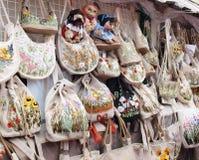 Bolsos hechos a mano de lino Imágenes de archivo libres de regalías