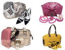 Bolsos, holgazanes y accesorio femeninos Foto de archivo libre de regalías