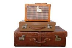 Bolsos viejos envejecidos de la vendimia del cuero del equipaje Imagen de archivo libre de regalías