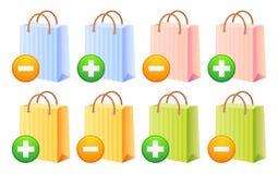 Bolsos y botón de compras Fotos de archivo libres de regalías