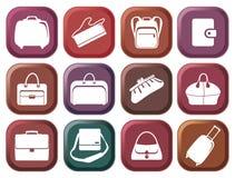 Bolsos y botones de las maletas Imagen de archivo
