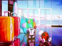 Bolsos y children& x27 del viaje de las maletas; juguetes de s que cuentan con el embarque Imagen de archivo libre de regalías