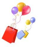 Bolsos y globos del regalo Imagen de archivo libre de regalías