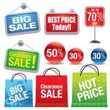 Bolsos y muestras de compras de la venta Fotografía de archivo libre de regalías