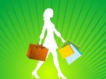 Bolsos y señora de compras Fotos de archivo