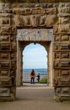BOLSOVER, UK - 7TH OCTOBER 2018: A mother and her son looking at the view from Bolsover Castle royalty free stock photography