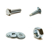 Bolt. Screw-nut, washer and screw Royalty Free Stock Photos