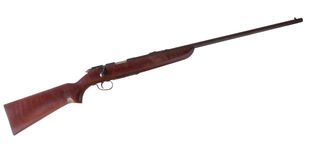 Bolt action. Rifle that cycles a cartridge with every turn of the bolt isolated on white Royalty Free Stock Photo